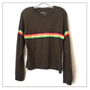 NWT On Fire L/S Tee in Olive with Rainbow Stripes